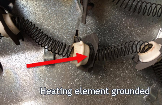 Dryer heating element grounded