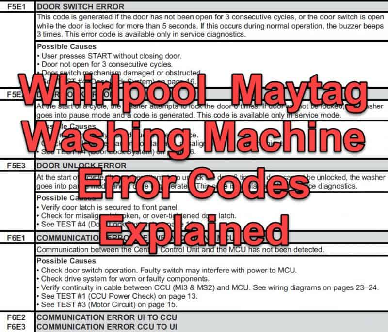 All Whirlpool And Maytag Washing Machine Error Codes Explained