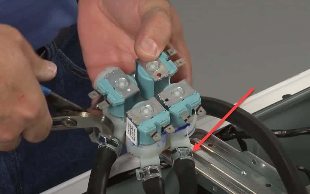 Washer inlet valve hose removing